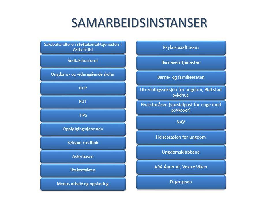 SAMARBEIDSINSTANSER Saksbehandlere i støttekontakttjenesten i Aktiv fritid VedtakskontoretUngdoms- og videregående skolerBUPPUTTIPSOppfølgingstjeneste