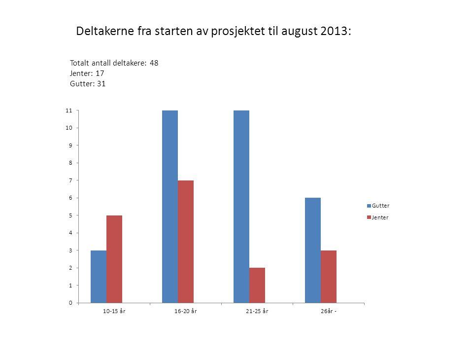 Deltakerne fra starten av prosjektet til august 2013: Totalt antall deltakere: 48 Jenter: 17 Gutter: 31