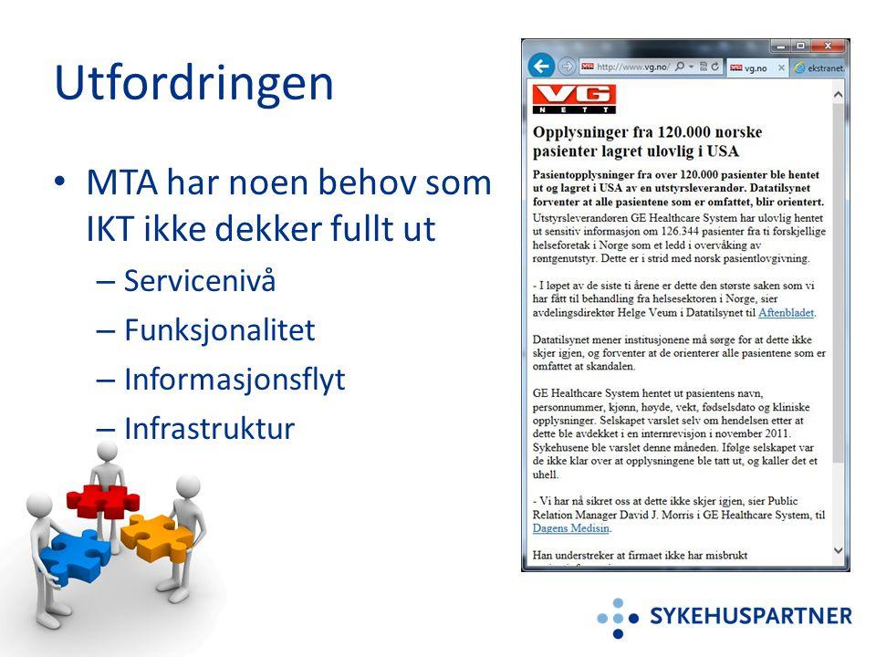 Utfordringen • MTA har noen behov som IKT ikke dekker fullt ut – Servicenivå – Funksjonalitet – Informasjonsflyt – Infrastruktur