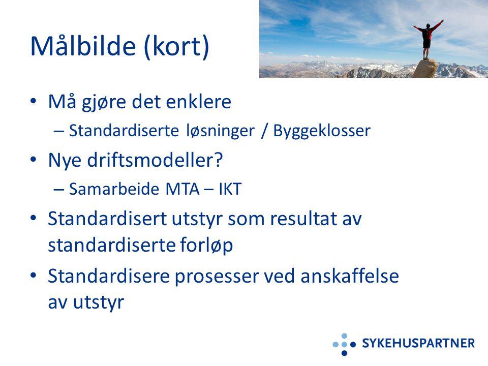 Målbilde (kort) • Må gjøre det enklere – Standardiserte løsninger / Byggeklosser • Nye driftsmodeller? – Samarbeide MTA – IKT • Standardisert utstyr s