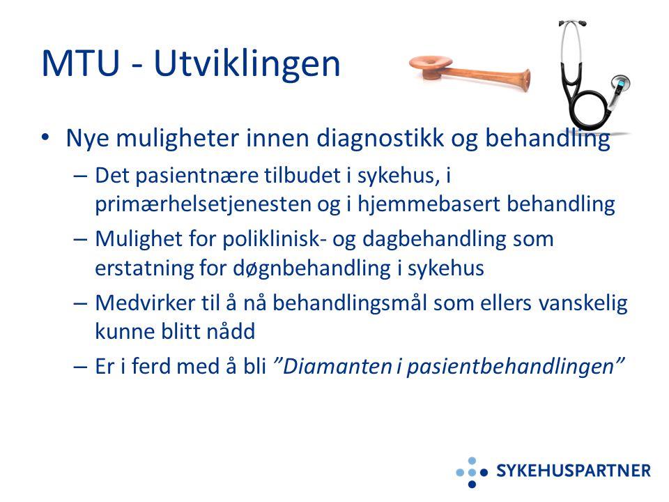 MTU - Utviklingen • Nye muligheter innen diagnostikk og behandling – Det pasientnære tilbudet i sykehus, i primærhelsetjenesten og i hjemmebasert beha