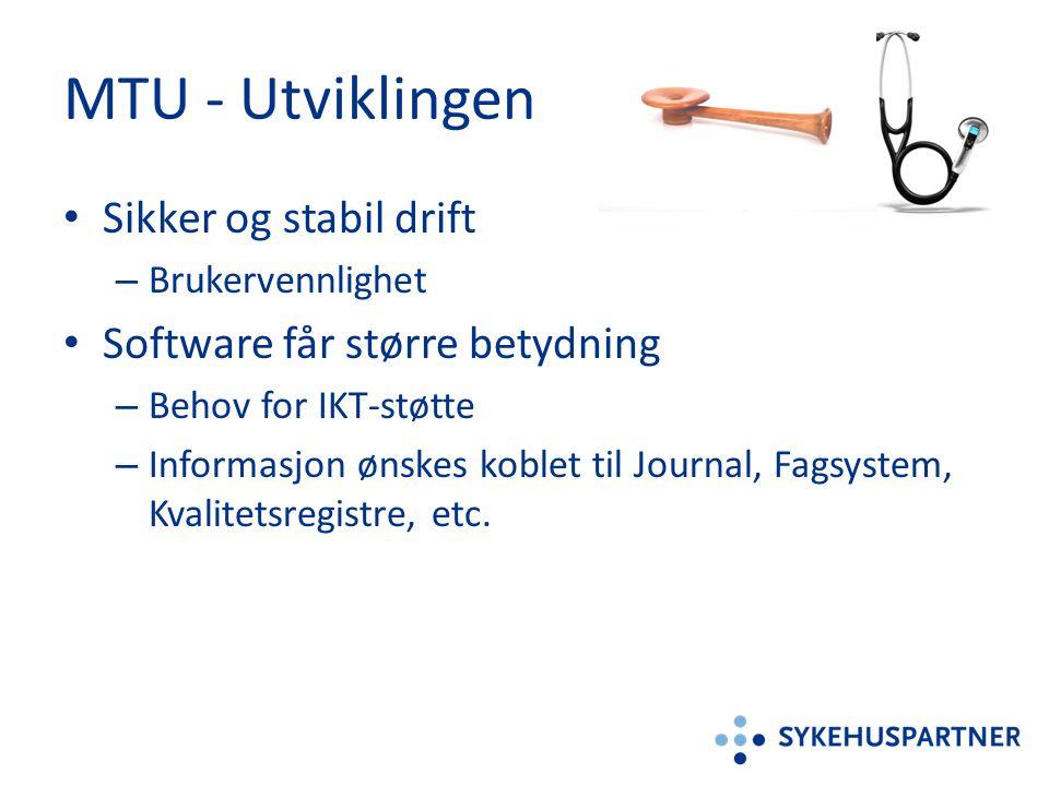 MTU - Utviklingen • Sikker og stabil drift – Brukervennlighet • Software får større betydning – Behov for IKT-støtte – Informasjon ønskes koblet til J