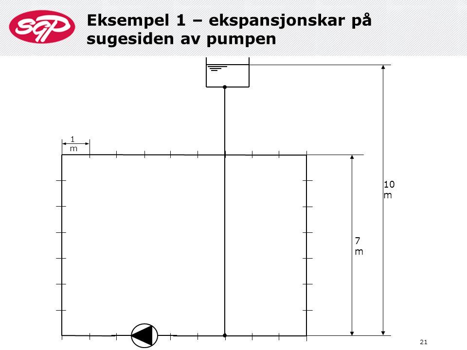 Eksempel 1 – ekspansjonskar på sugesiden av pumpen 21 10 m 7m7m 1m1m