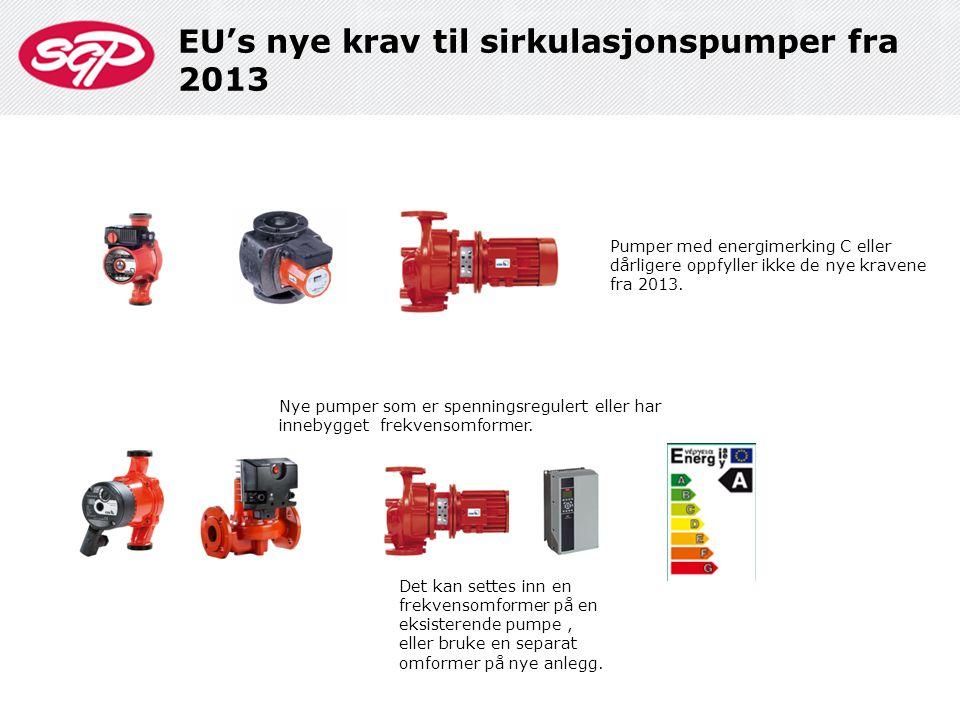 Pumper med energimerking C eller dårligere oppfyller ikke de nye kravene fra 2013. Det kan settes inn en frekvensomformer på en eksisterende pumpe, el