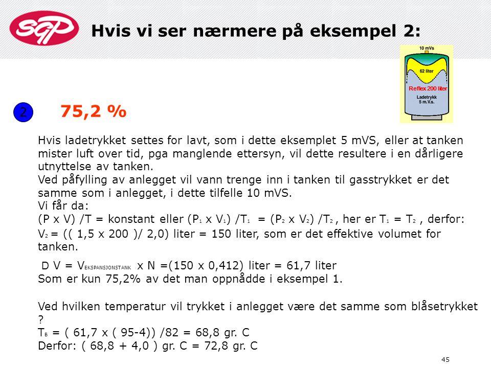45 2 Hvis ladetrykket settes for lavt, som i dette eksemplet 5 mVS, eller at tanken mister luft over tid, pga manglende ettersyn, vil dette resultere