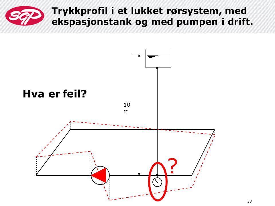 53 10 m ? Trykkprofil i et lukket rørsystem, med ekspasjonstank og med pumpen i drift. Hva er feil?