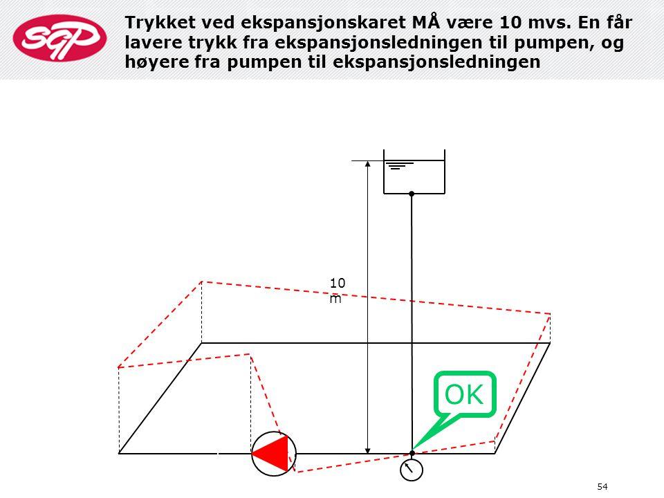 54 10 m OK Trykket ved ekspansjonskaret MÅ være 10 mvs. En får lavere trykk fra ekspansjonsledningen til pumpen, og høyere fra pumpen til ekspansjonsl
