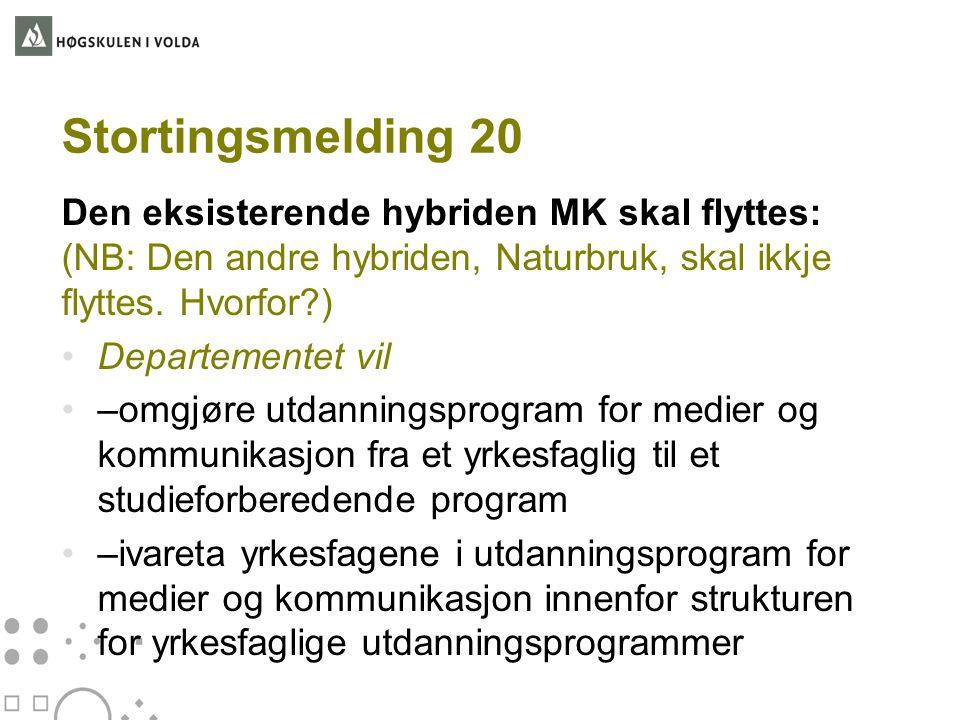 Stortingsmelding 20 Den eksisterende hybriden MK skal flyttes: (NB: Den andre hybriden, Naturbruk, skal ikkje flyttes. Hvorfor?) •Departementet vil •–