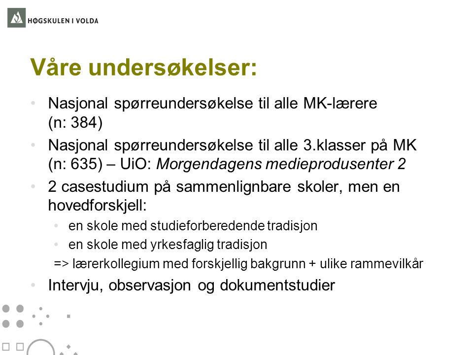 Våre undersøkelser: •Nasjonal spørreundersøkelse til alle MK-lærere (n: 384) •Nasjonal spørreundersøkelse til alle 3.klasser på MK (n: 635) – UiO: Mor