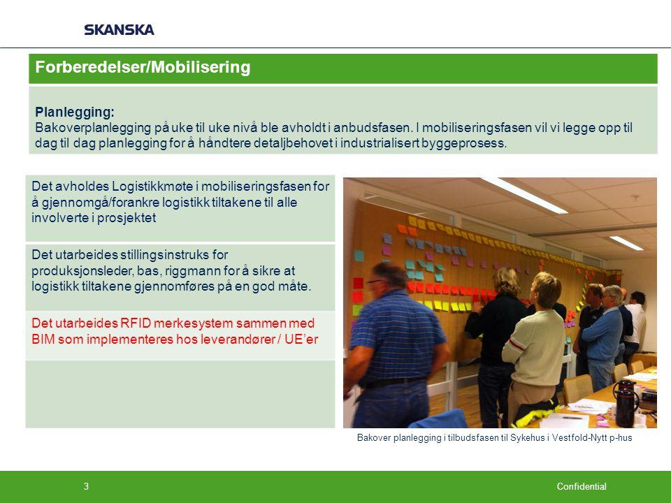 Confidential Forberedelser/Mobilisering Planlegging: Bakoverplanlegging på uke til uke nivå ble avholdt i anbudsfasen. I mobiliseringsfasen vil vi leg