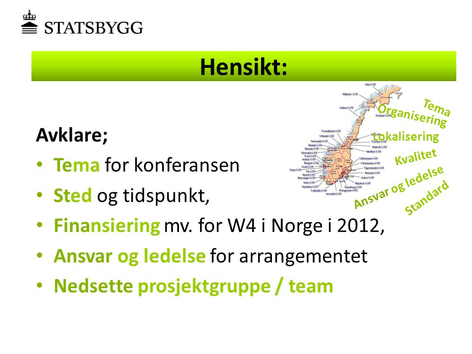 Avklare; • Tema for konferansen • Sted og tidspunkt, • Finansiering mv. for W4 i Norge i 2012, • Ansvar og ledelse for arrangementet • Nedsette prosje