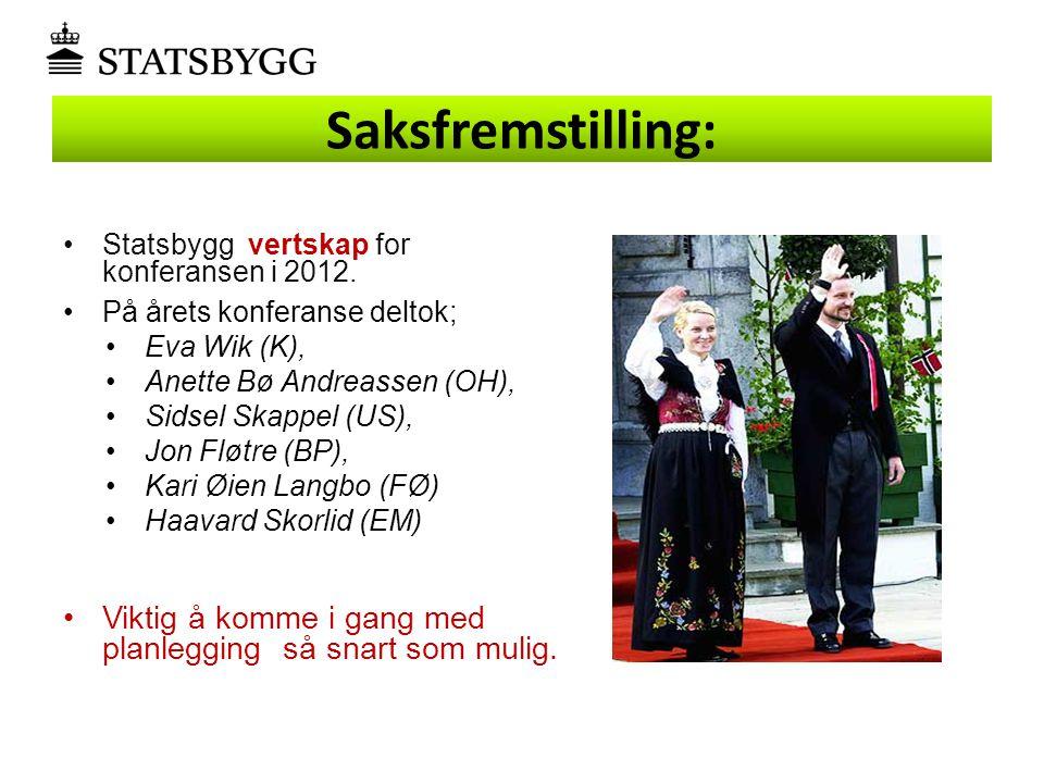 Saksfremstilling: •Statsbygg vertskap for konferansen i 2012. •På årets konferanse deltok; •Eva Wik (K), •Anette Bø Andreassen (OH), •Sidsel Skappel (