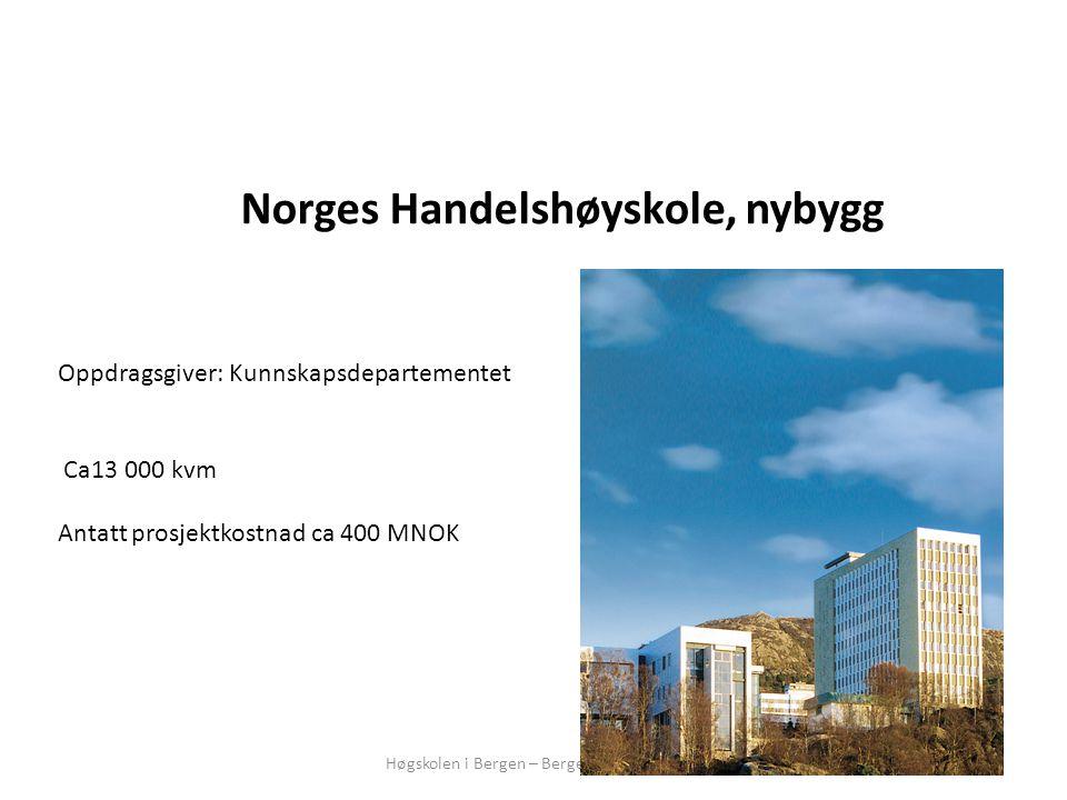 Høgskolen i Bergen – Bergen Næringsråd Norges Handelshøyskole, nybygg Oppdragsgiver: Kunnskapsdepartementet Ca13 000 kvm Antatt prosjektkostnad ca 400