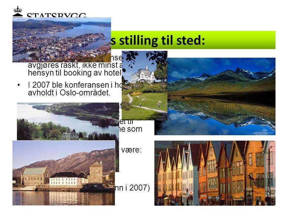 •Lokalisering av konferansen bør avgjøres raskt, ikke minst av hensyn til booking av hotellrom. •I 2007 ble konferansen i hovedsak avholdt i Oslo-områ