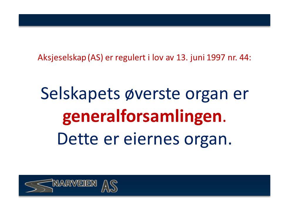 Aksjeselskap (AS) er regulert i lov av 13.juni 1997 nr.