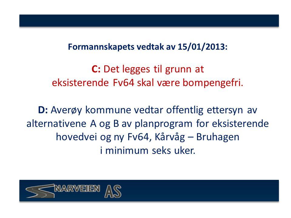 Formannskapets vedtak av 15/01/2013: C: Det legges til grunn at eksisterende Fv64 skal være bompengefri.