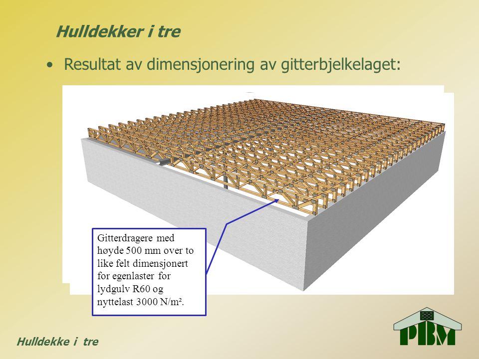 Hulldekke i tre •Resultat av dimensjonering av gitterbjelkelaget: Hulldekker i tre Gitterdragere med høyde 500 mm over to like felt dimensjonert for e