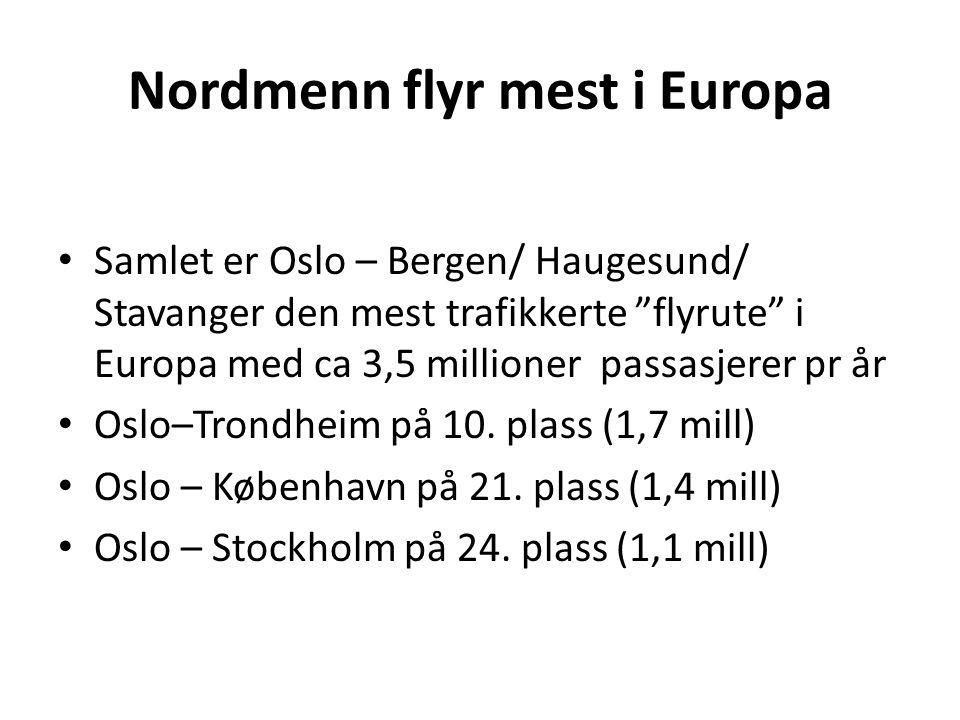 """Nordmenn flyr mest i Europa • Samlet er Oslo – Bergen/ Haugesund/ Stavanger den mest trafikkerte """"flyrute"""" i Europa med ca 3,5 millioner passasjerer p"""