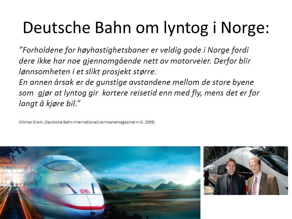 """Deutsche Bahn om lyntog i Norge: """"Forholdene for høyhastighetsbaner er veldig gode i Norge fordi dere ikke har noe gjennomgående nett av motorveier. D"""