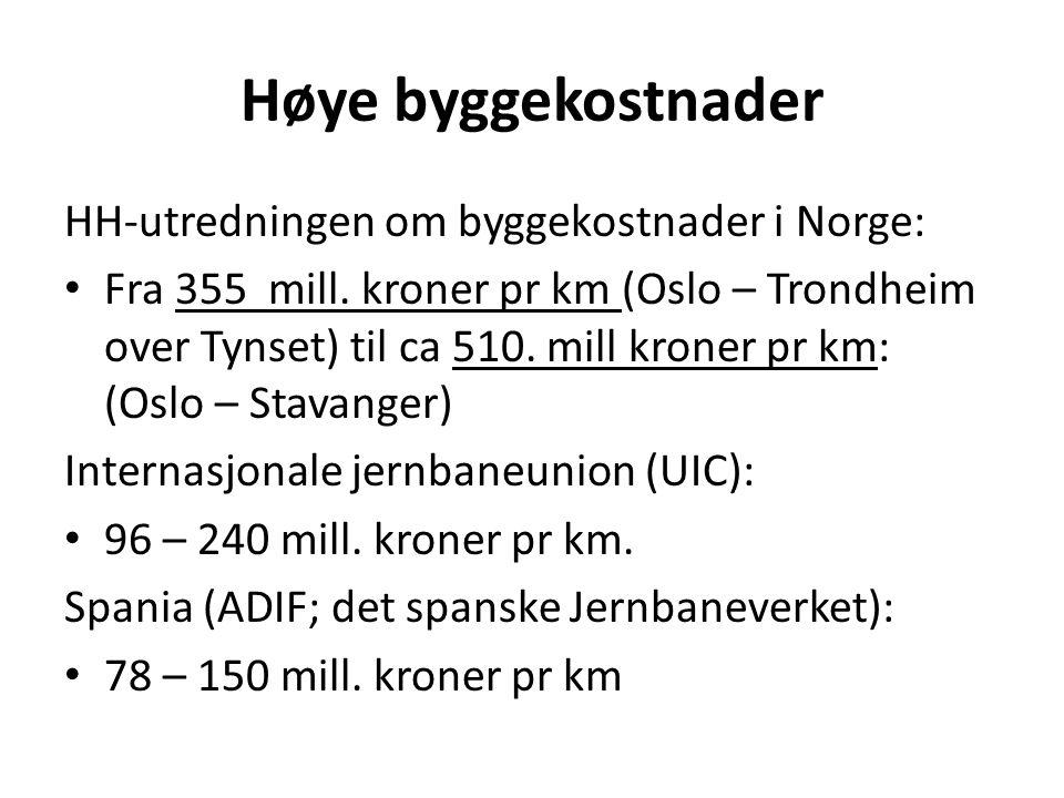 Høye byggekostnader HH-utredningen om byggekostnader i Norge: • Fra 355 mill. kroner pr km (Oslo – Trondheim over Tynset) til ca 510. mill kroner pr k