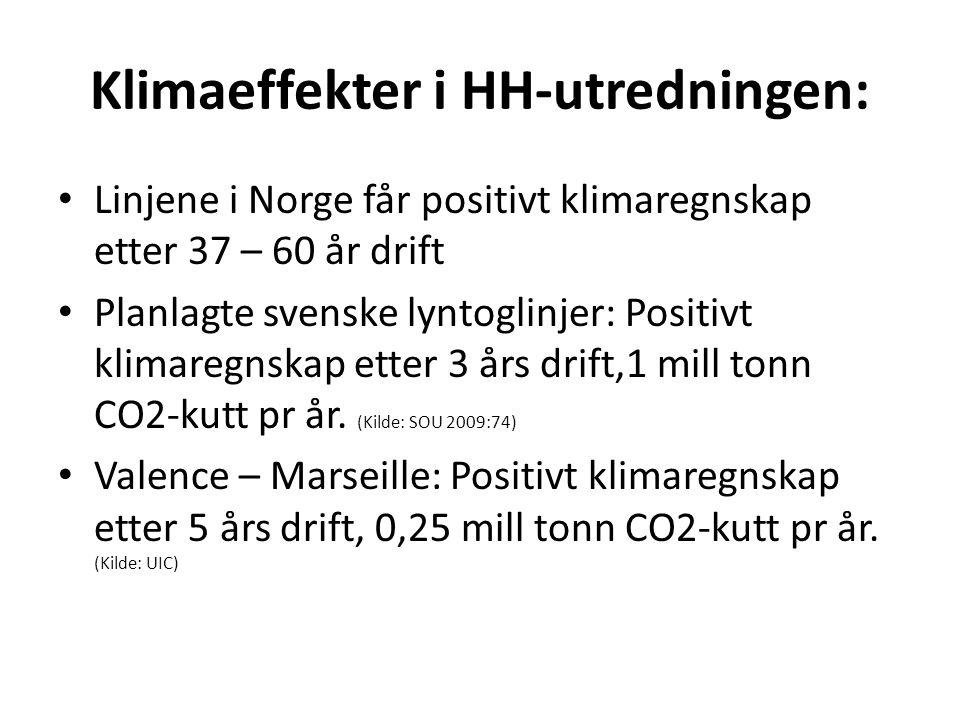 Klimaeffekter i HH-utredningen: • Linjene i Norge får positivt klimaregnskap etter 37 – 60 år drift • Planlagte svenske lyntoglinjer: Positivt klimare