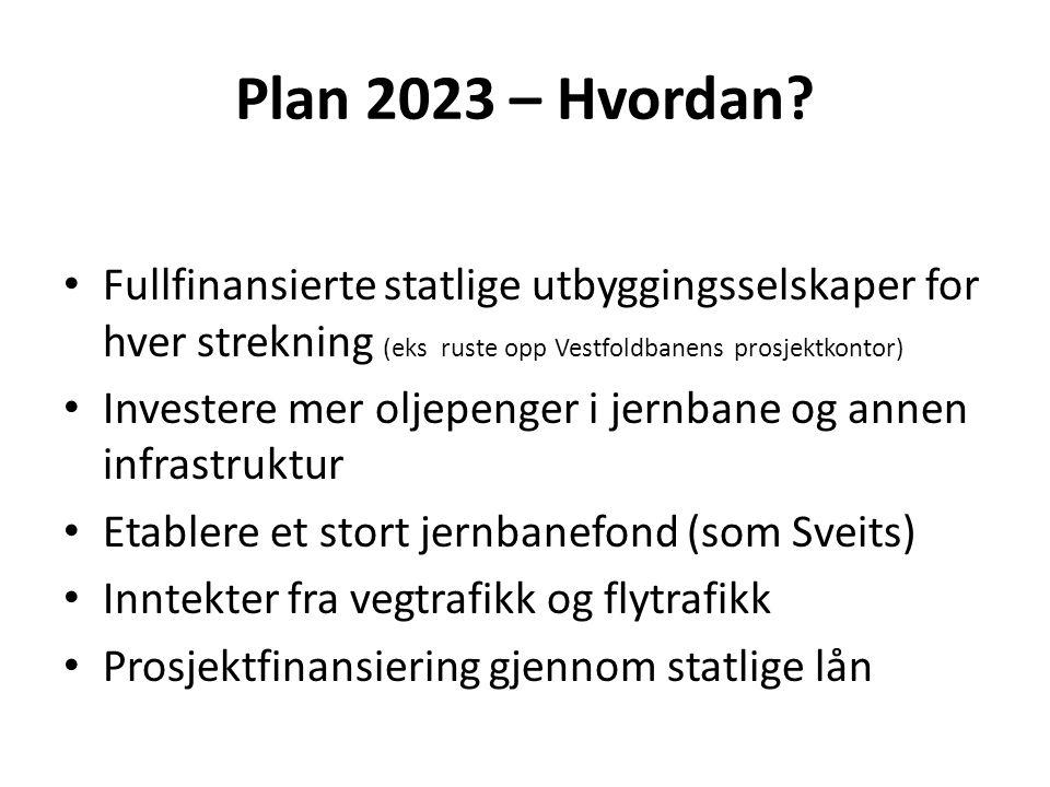 Plan 2023 – Hvordan? • Fullfinansierte statlige utbyggingsselskaper for hver strekning (eks ruste opp Vestfoldbanens prosjektkontor) • Investere mer o