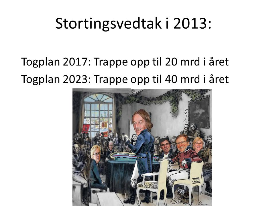 Stortingsvedtak i 2013: Togplan 2017: Trappe opp til 20 mrd i året Togplan 2023: Trappe opp til 40 mrd i året