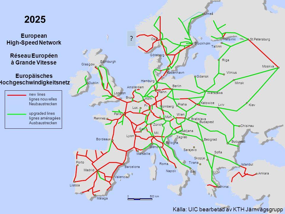 27 2025 European High-Speed Network Réseau Européen à Grande Vitesse Europäisches Hochgeschwindigkeitsnetz new lines lignes nouvelles Neubaustrecken u