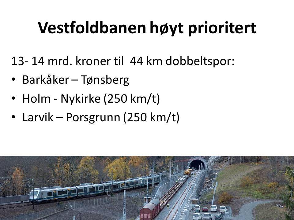 Vestfoldbanen høyt prioritert 13- 14 mrd. kroner til 44 km dobbeltspor: • Barkåker – Tønsberg • Holm - Nykirke (250 km/t) • Larvik – Porsgrunn (250 km