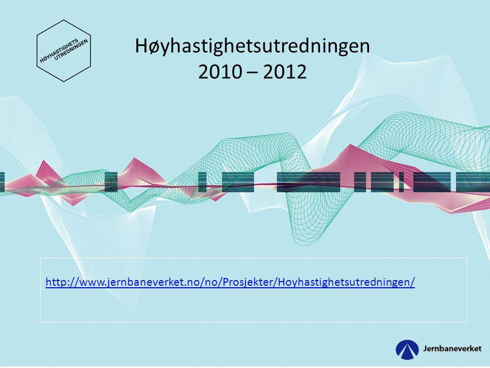Lyntog tilpasset norske forhold • Variere hastighetsstandard (250 km/t – 320 km/t) ut fra topografi og stasjonsmønster.