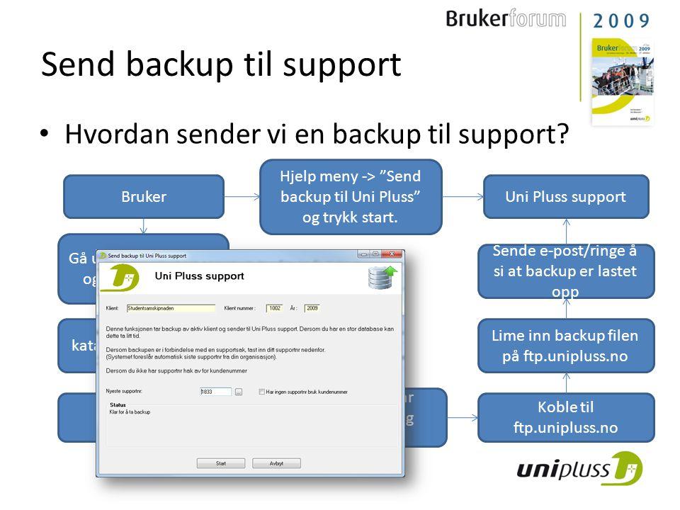Send backup til support • Hvordan sender vi en backup til support? Gå ut i hovedmenyen og lag en backup. Finn backup katalogen i Windows utforsker Bru
