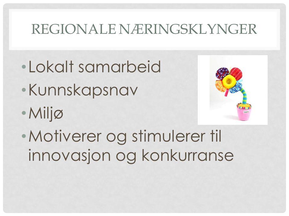 REGIONALE NÆRINGSKLYNGER • Lokalt samarbeid • Kunnskapsnav • Miljø • Motiverer og stimulerer til innovasjon og konkurranse