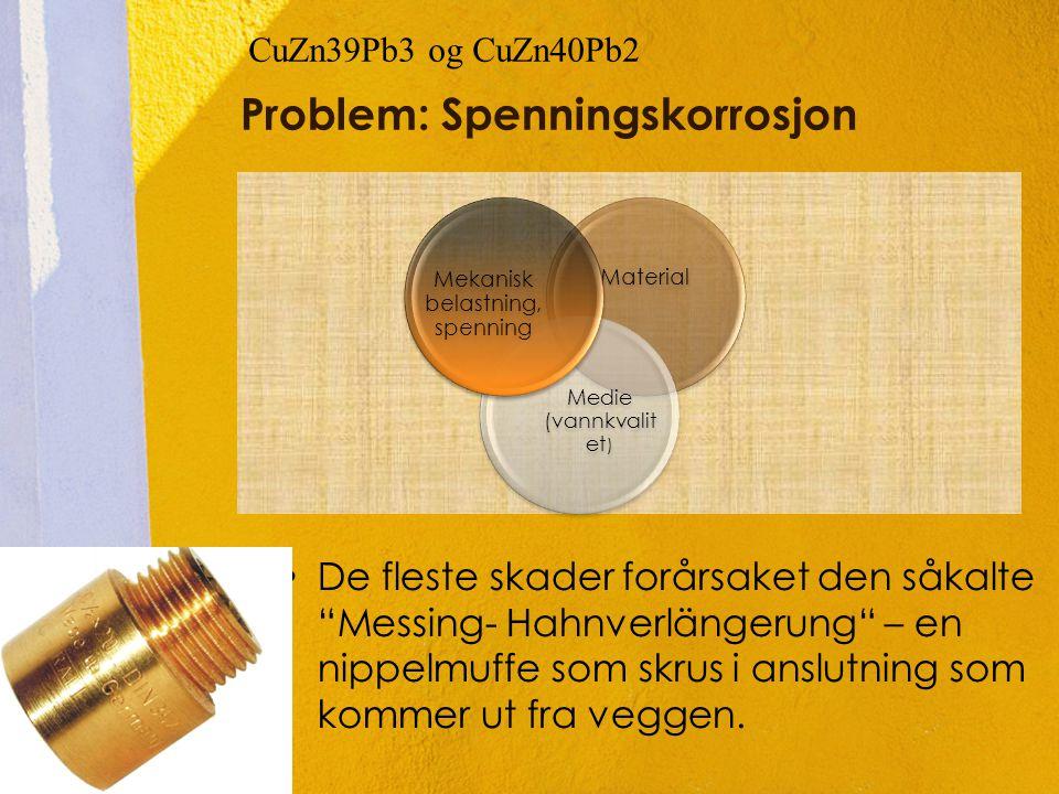 "Problem: Spenningskorrosjon •De fleste skader forårsaket den såkalte ""Messing- Hahnverlängerung"" – en nippelmuffe som skrus i anslutning som kommer ut"
