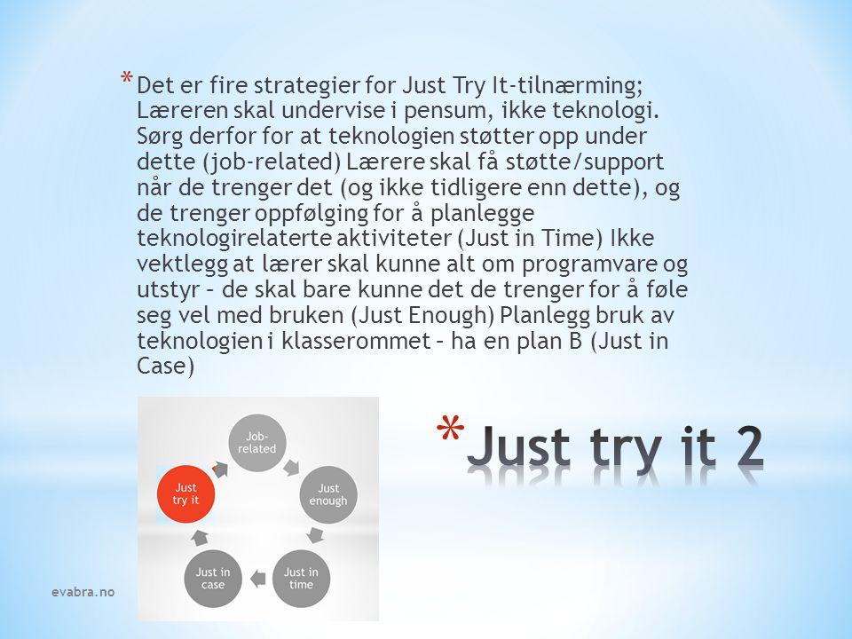 * Det er fire strategier for Just Try It-tilnærming; Læreren skal undervise i pensum, ikke teknologi. Sørg derfor for at teknologien støtter opp under