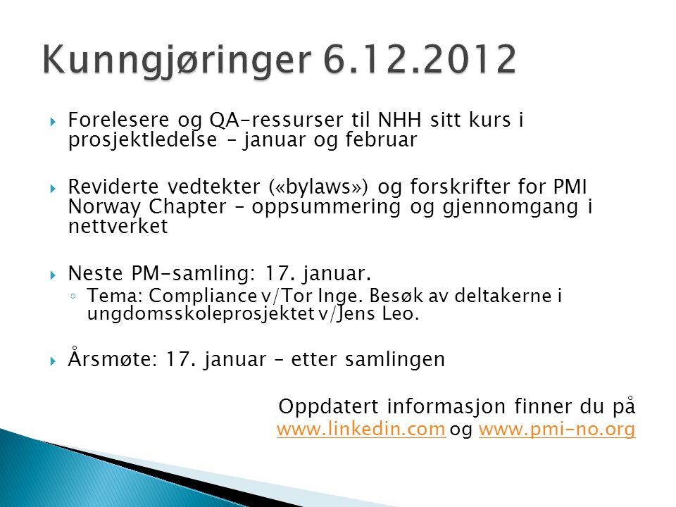  Forelesere og QA-ressurser til NHH sitt kurs i prosjektledelse – januar og februar  Reviderte vedtekter («bylaws») og forskrifter for PMI Norway Chapter – oppsummering og gjennomgang i nettverket  Neste PM-samling: 17.