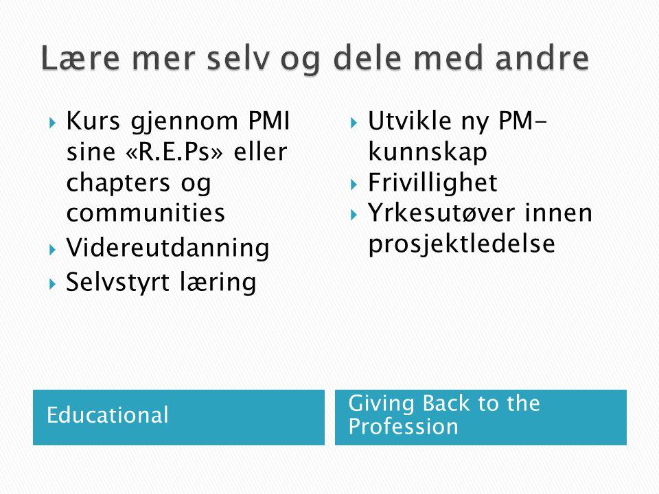  Delta i frivillige, ubetalte aktiviteter knyttet til prosjektledelse, prosjektrisiko, prosjekttidstyring eller programledelse (ikke egen arbeidsgiver eller kunde) ◦ For en forening eller veldedighetsorganisasjon ◦ For PMI eller annen profesjonell prosjektledelsesorganisasjon ◦ Styreverv, region- og nettverksledelse i PMI ◦ Komitemedlem i eller utenfor PMI