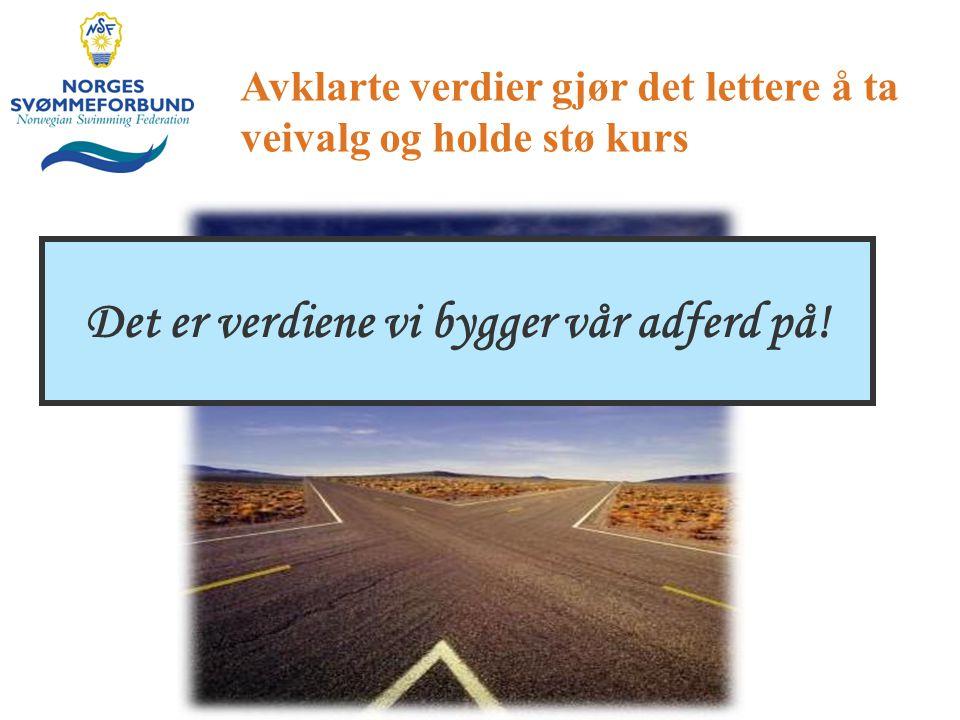 Avklarte verdier gjør det lettere å ta veivalg og holde stø kurs Det er verdiene vi bygger vår adferd på!