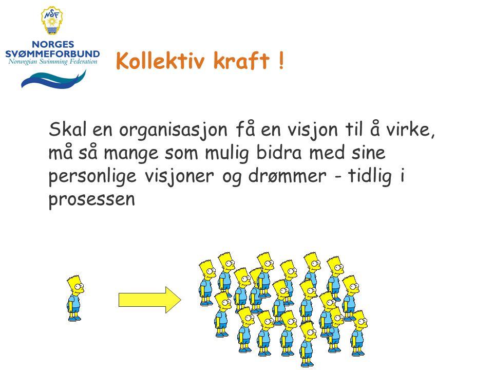 Kollektiv kraft ! Skal en organisasjon få en visjon til å virke, må så mange som mulig bidra med sine personlige visjoner og drømmer - tidlig i proses