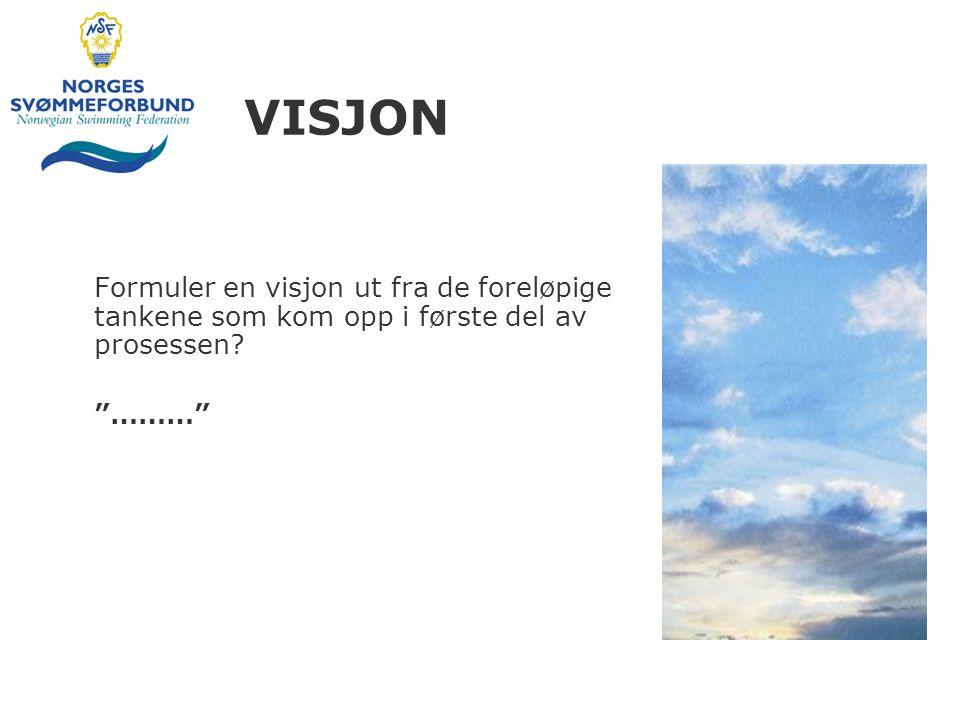 """VISJON Formuler en visjon ut fra de foreløpige tankene som kom opp i første del av prosessen? """"………"""""""