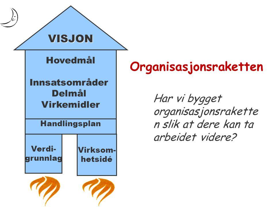 Hovedmål Innsatsområder Delmål Virkemidler Handlingsplan Verdi- grunnlag Virksom- hetsidé VISJON Organisasjonsraketten Har vi bygget organisasjonsrake