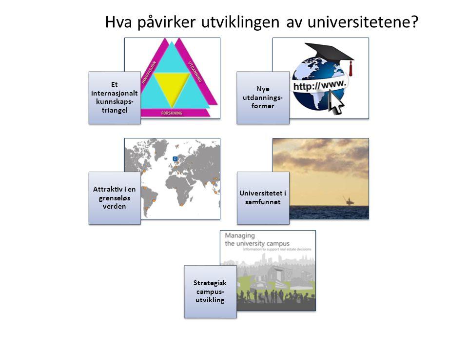 Hva påvirker utviklingen av universitetene? Et internasjonalt kunnskaps- triangel Nye utdannings- former Attraktiv i en grenseløs verden Universitetet