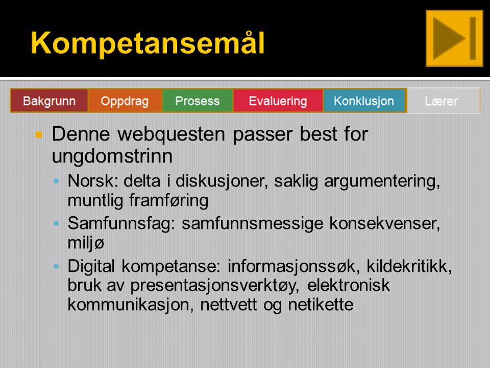  Denne webquesten passer best for ungdomstrinn  Norsk: delta i diskusjoner, saklig argumentering, muntlig framføring  Samfunnsfag: samfunnsmessige konsekvenser, miljø  Digital kompetanse: informasjonssøk, kildekritikk, bruk av presentasjonsverktøy, elektronisk kommunikasjon, nettvett og netikette