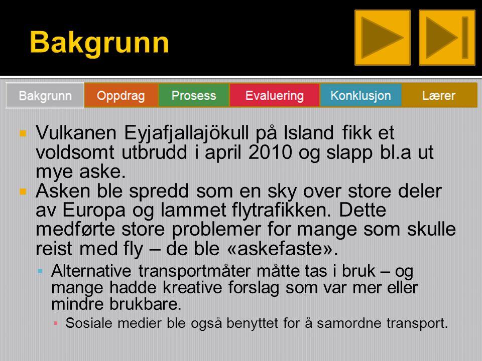  Vulkanen Eyjafjallajökull på Island fikk et voldsomt utbrudd i april 2010 og slapp bl.a ut mye aske.