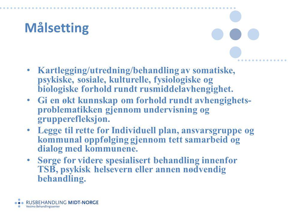 Målsetting • Kartlegging/utredning/behandling av somatiske, psykiske, sosiale, kulturelle, fysiologiske og biologiske forhold rundt rusmiddelavhengigh