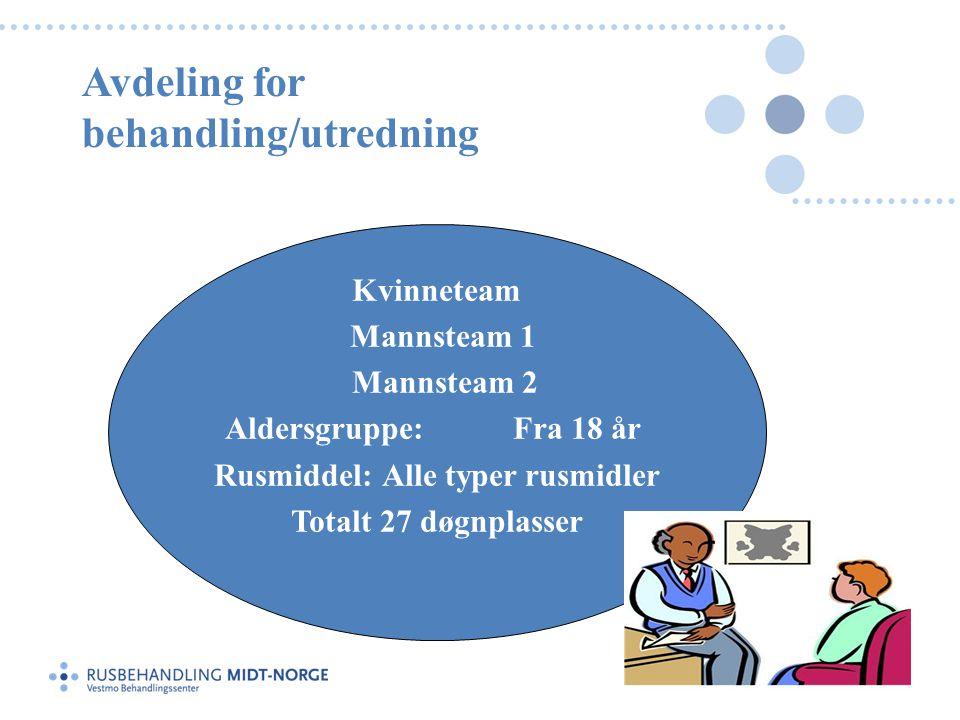 Avdeling for behandling/utredning Kvinneteam Mannsteam 1 Mannsteam 2 Aldersgruppe:Fra 18 år Rusmiddel:Alle typer rusmidler Totalt 27 døgnplasser