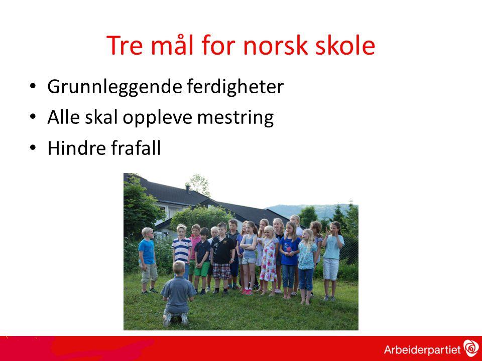 Tre mål for norsk skole • Grunnleggende ferdigheter • Alle skal oppleve mestring • Hindre frafall