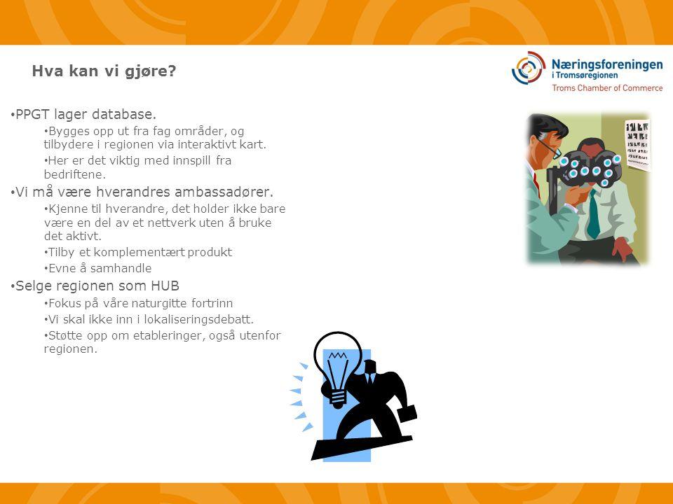 Hva kan vi gjøre. • PPGT lager database.