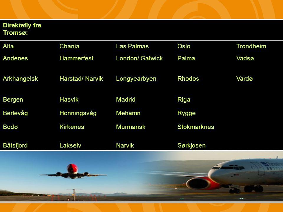 Direktefly fra Tromsø: AltaChaniaLas PalmasOsloTrondheim AndenesHammerfestLondon/ GatwickPalmaVadsø ArkhangelskHarstad/ NarvikLongyearbyenRhodosVardø BergenHasvikMadridRiga BerlevågHonningsvågMehamnRygge BodøKirkenesMurmanskStokmarknes BåtsfjordLakselvNarvikSørkjosen