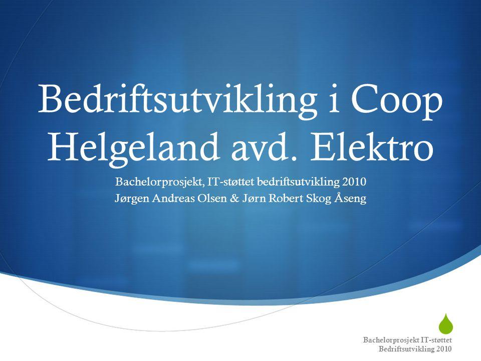  Bedriftsutvikling i Coop Helgeland avd. Elektro Bachelorprosjekt, IT-støttet bedriftsutvikling 2010 Jørgen Andreas Olsen & Jørn Robert Skog Åseng Ba
