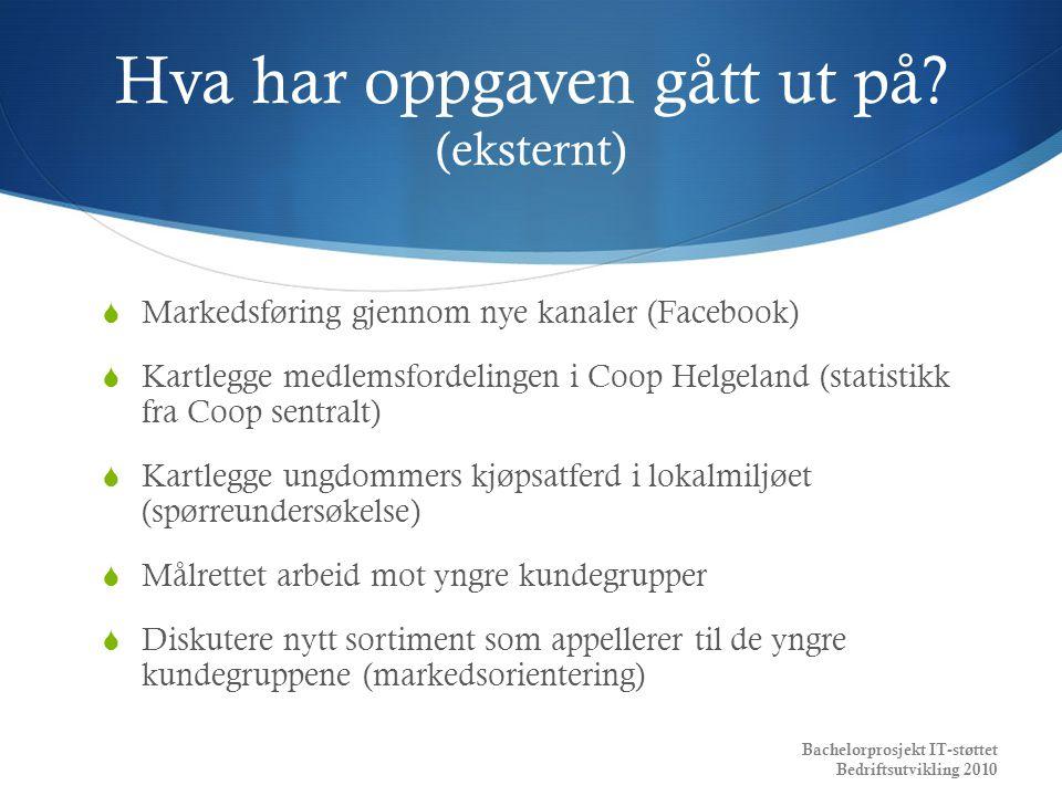 Hva har oppgaven gått ut på? (eksternt)  Markedsføring gjennom nye kanaler (Facebook)  Kartlegge medlemsfordelingen i Coop Helgeland (statistikk fra